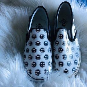 Slip on smiley face skater shoes